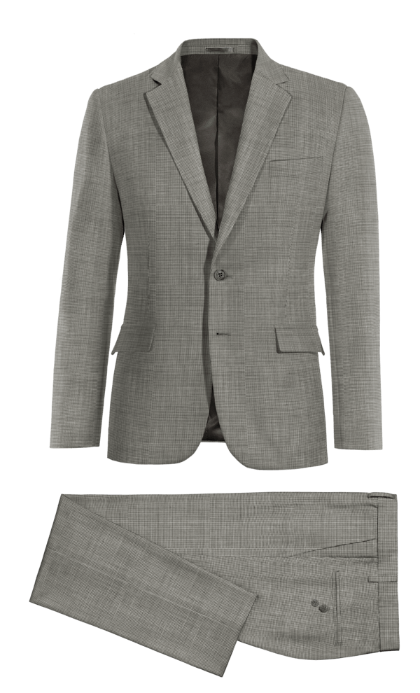 Costume gris à chevron 100% laine