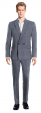 Blue Double breasted striped linen Suit-View Front