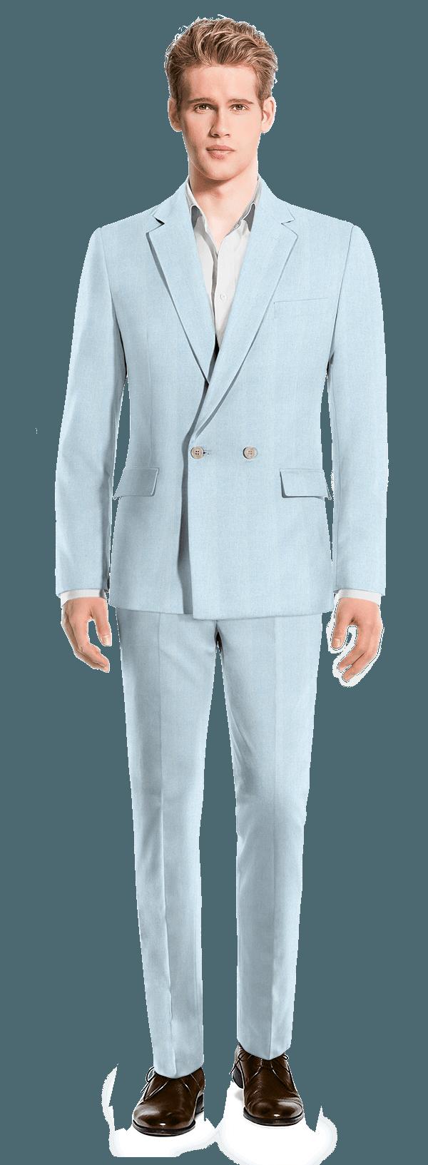 Costume bleu croisé en Lin