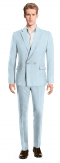 Blue Double breasted linen Suit-View Front