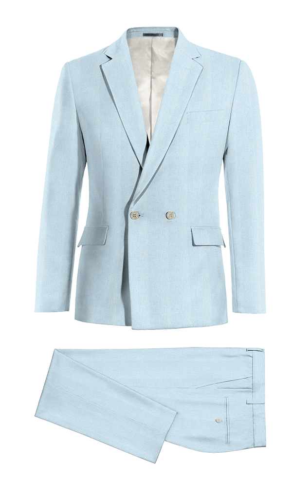 Blue Double breasted linen Suit