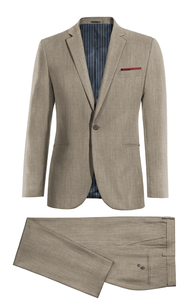 Costume gris à rayures 100% laine