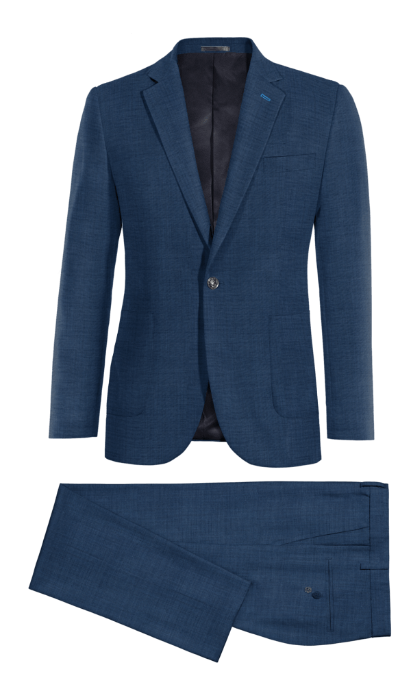 Blue 100% Wool Suit
