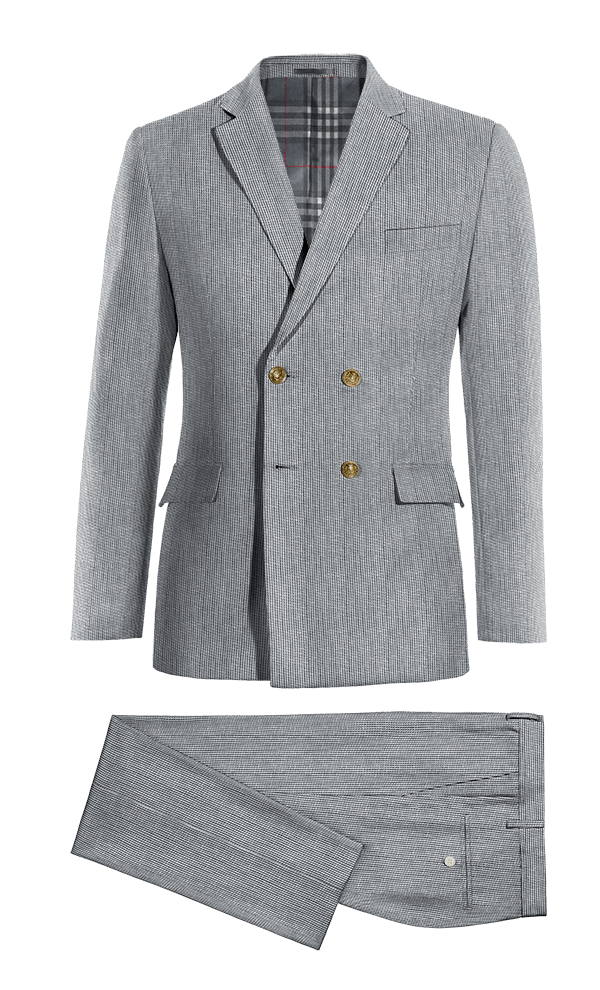 Blue Double breasted striped linen Suit