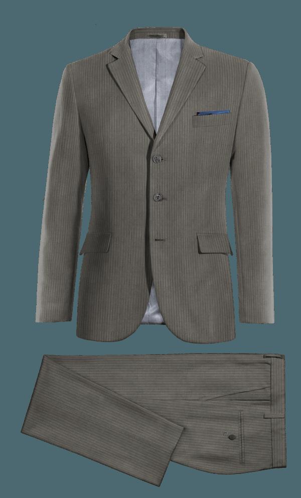 Costume gris à rayures en Laine