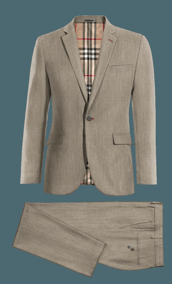 Grey striped 100% Wool Suit