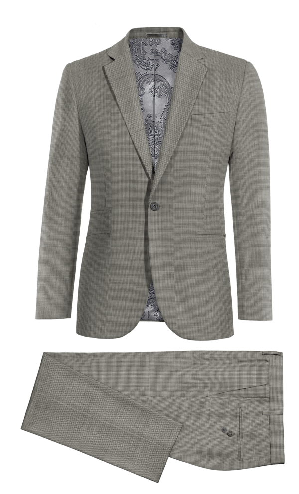 Grey Houndstooth 100% Wool Suit