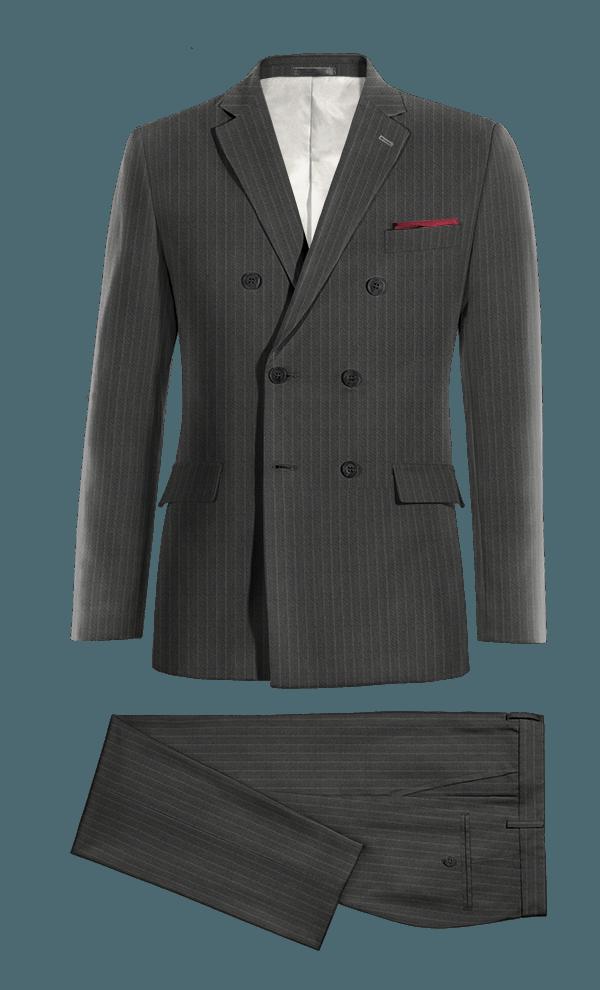 Costume gris croisé à rayures en Laine