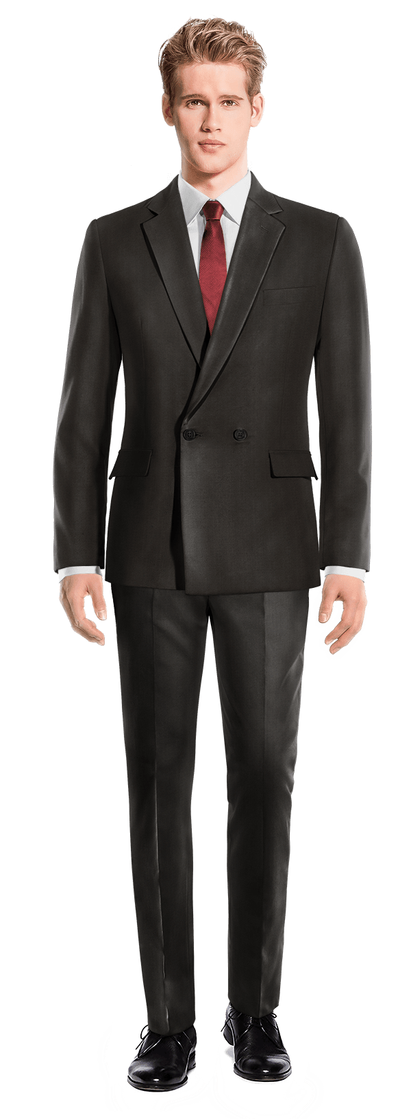 Black Double breasted polyester Suit