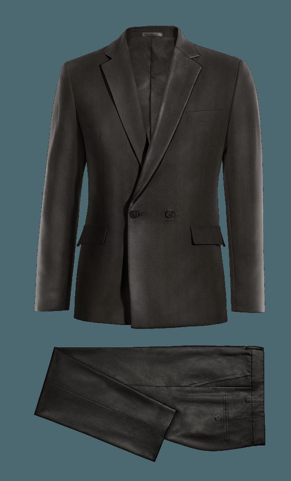 Costume noir croisé en Polyester