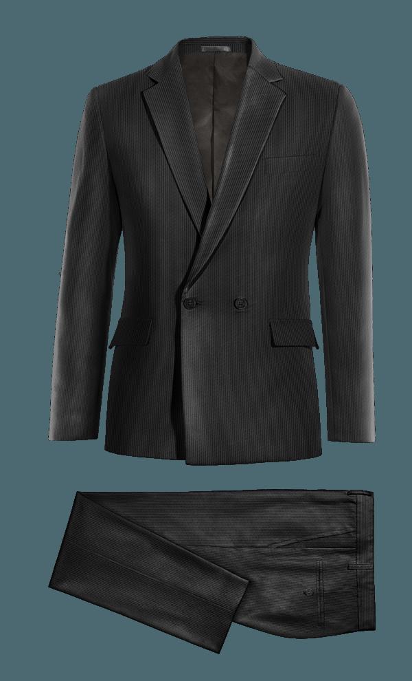 Costume noir croisé en Velours côtelé