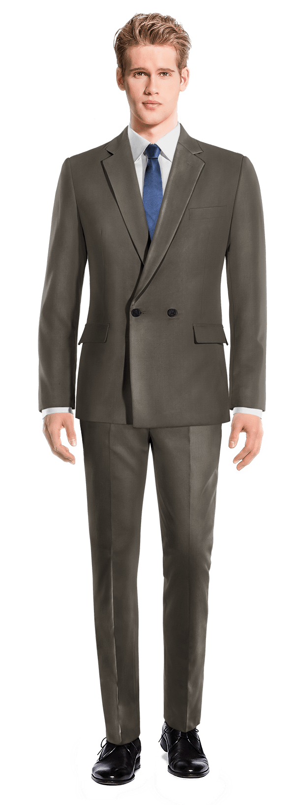 Brown Double breasted polyester Suit