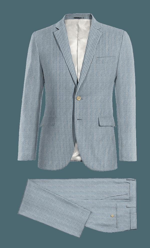 Costume bleu à rayures en Lin