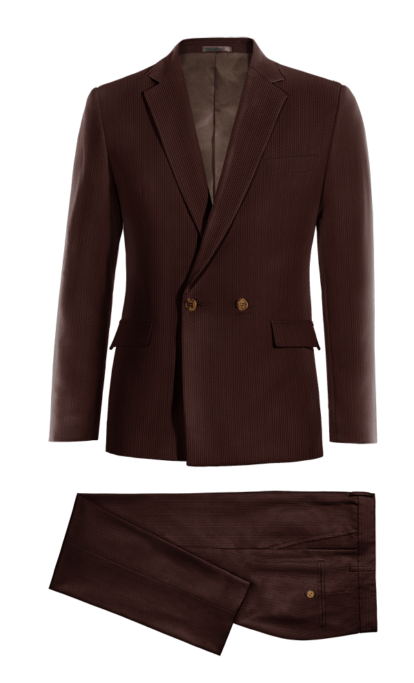 Brown Double breasted corduroy Suit