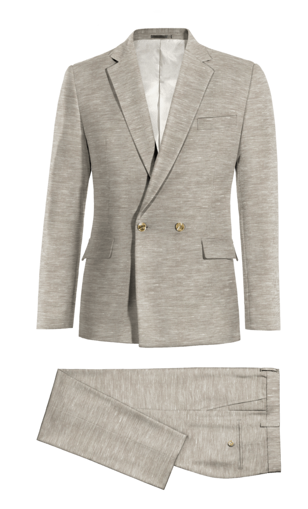 Grey Double breasted polyester Suit