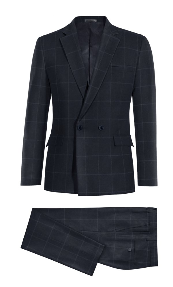 Blue Double breasted checked polyester Suit