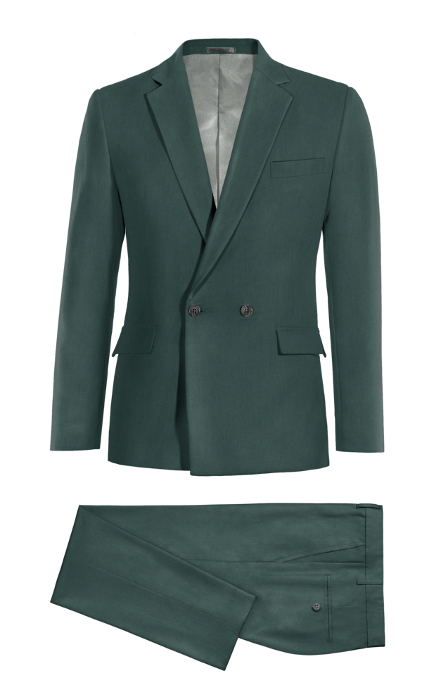 Green Double breasted polyester Suit