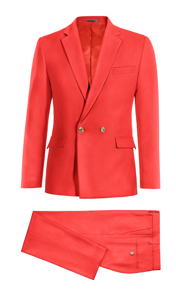 Red Double breasted polyester Suit