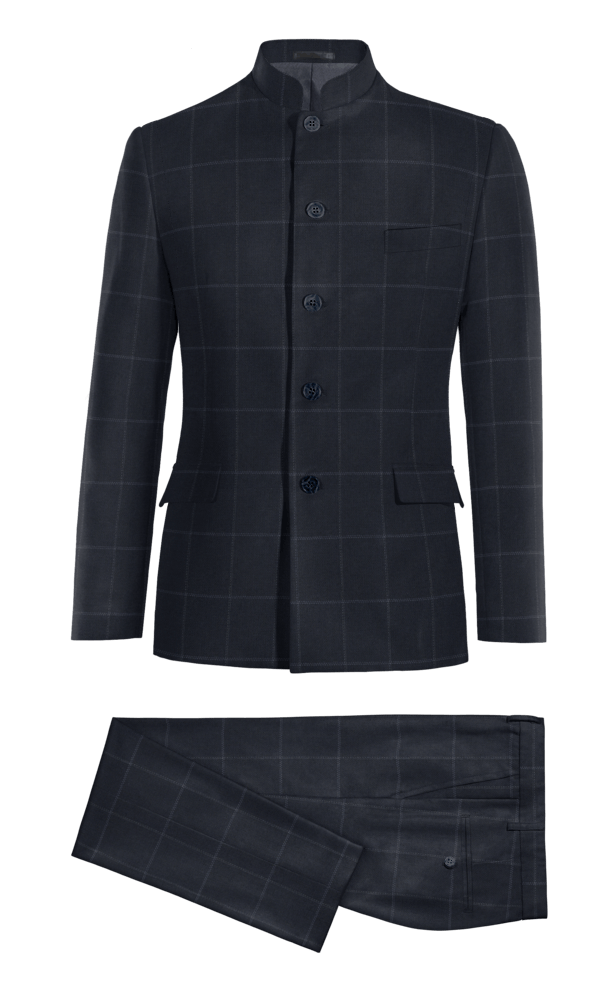 Blue Mao checked polyester Suit