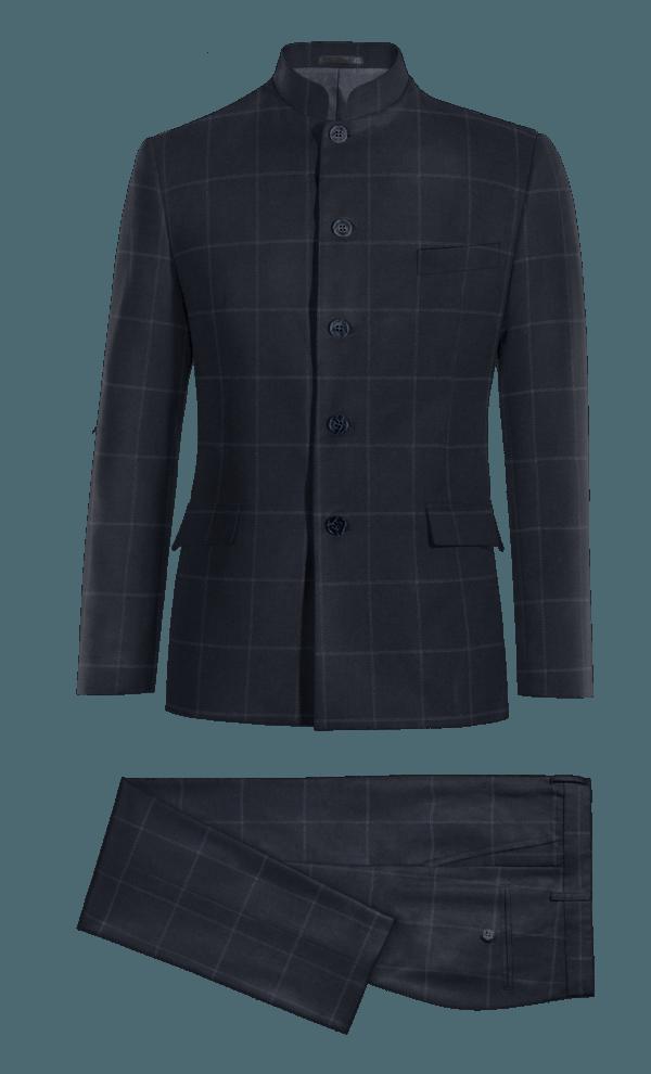 Costume bleu Mao à carreaux en Polyester
