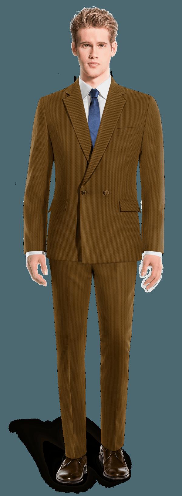 Costume marron croisé en Velours côtelé