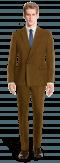 Costume marron croisé en Velours côtelé-Vue Avant