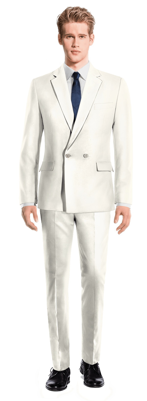 White Double breasted polyester Suit