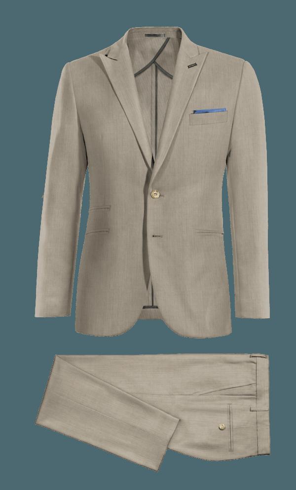 Costume beige 100% laine