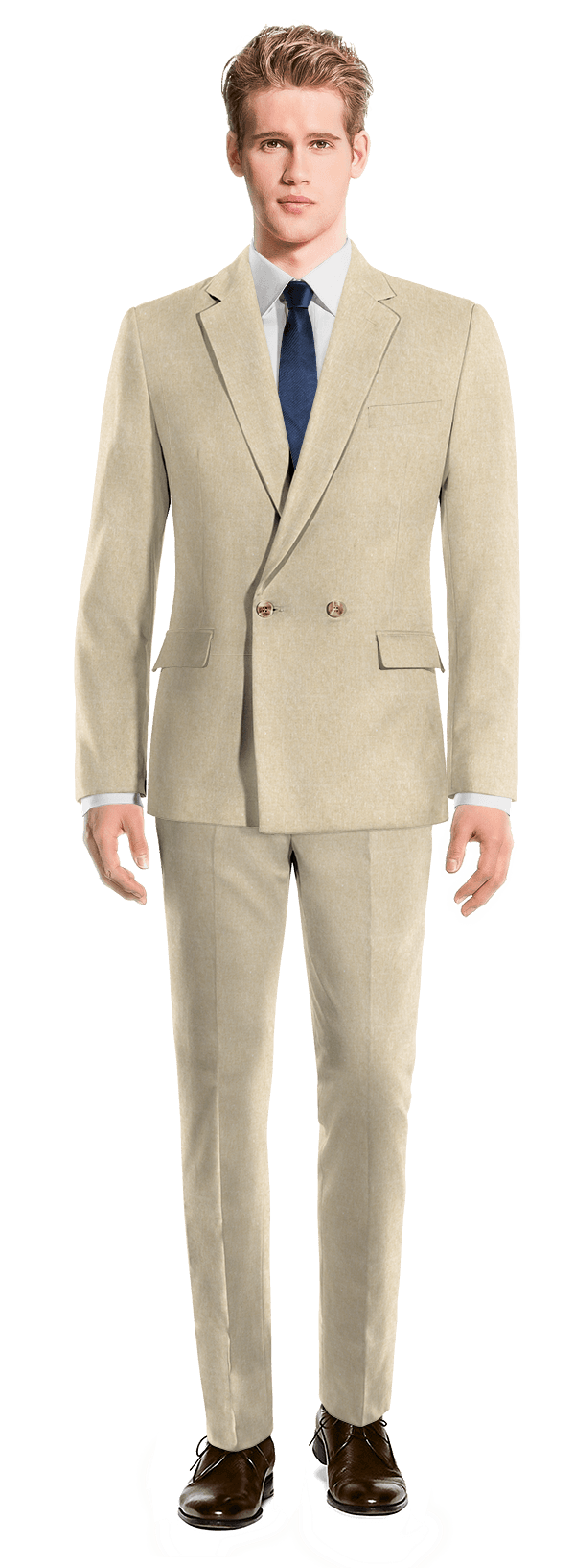 Beige Double breasted linen Suit