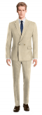 Beige Double breasted linen Suit-View Front
