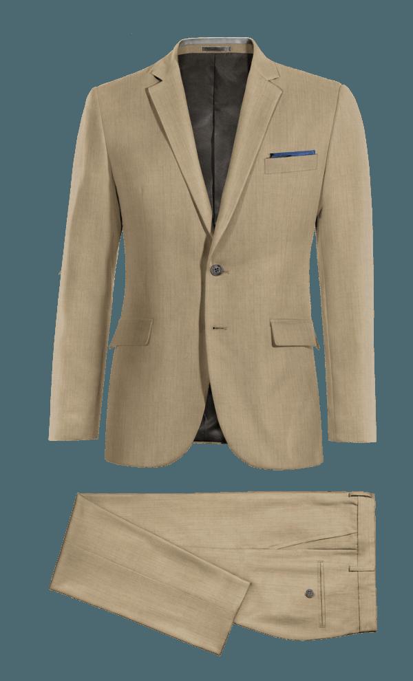 Beige 100% Wool Suit