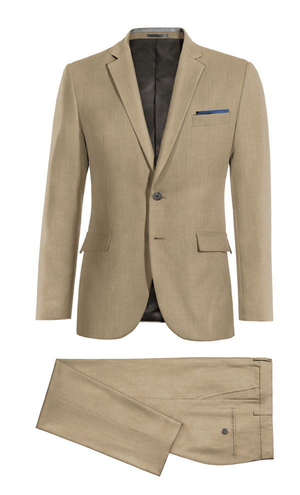 Beige 100% Wool Suit
