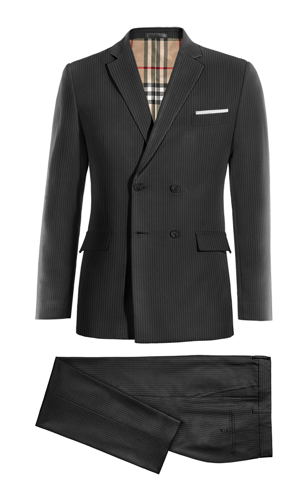 Black Double breasted striped 100% Wool Suit