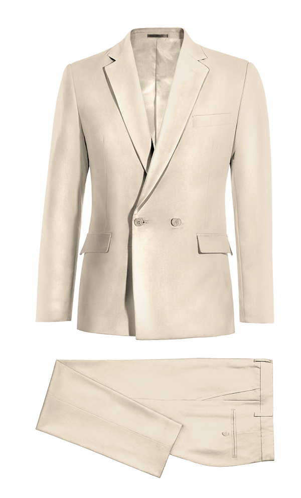 Beige Double breasted polyester Suit