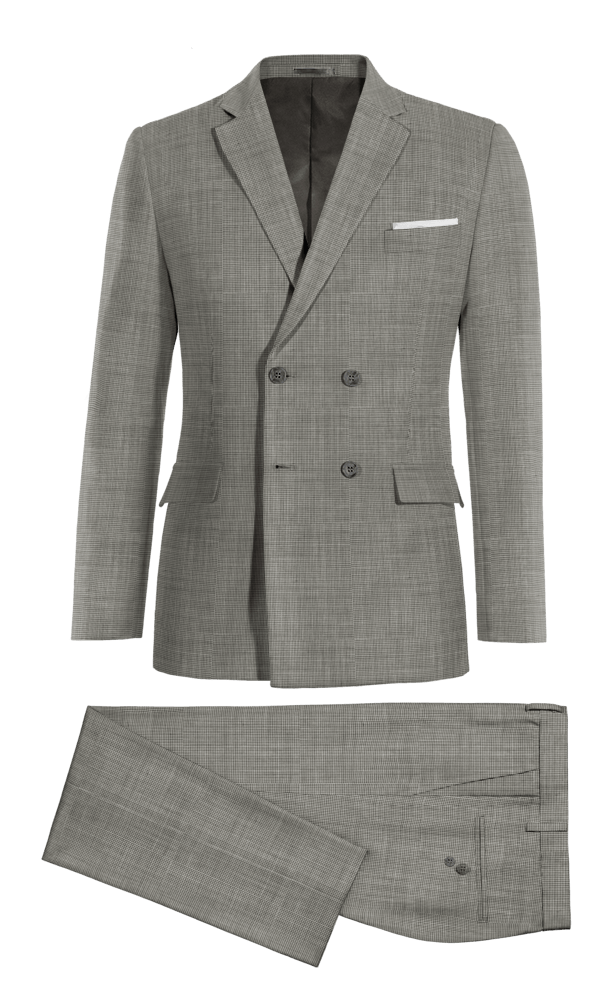 Grey Double breasted Houndstooth 100% Wool Suit