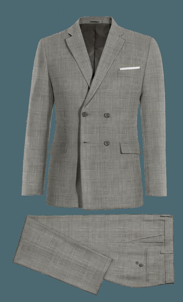 Costume gris croisé à chevron 100% laine