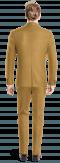 Costume marron croisé à carreaux 100% laine-Vue Dos