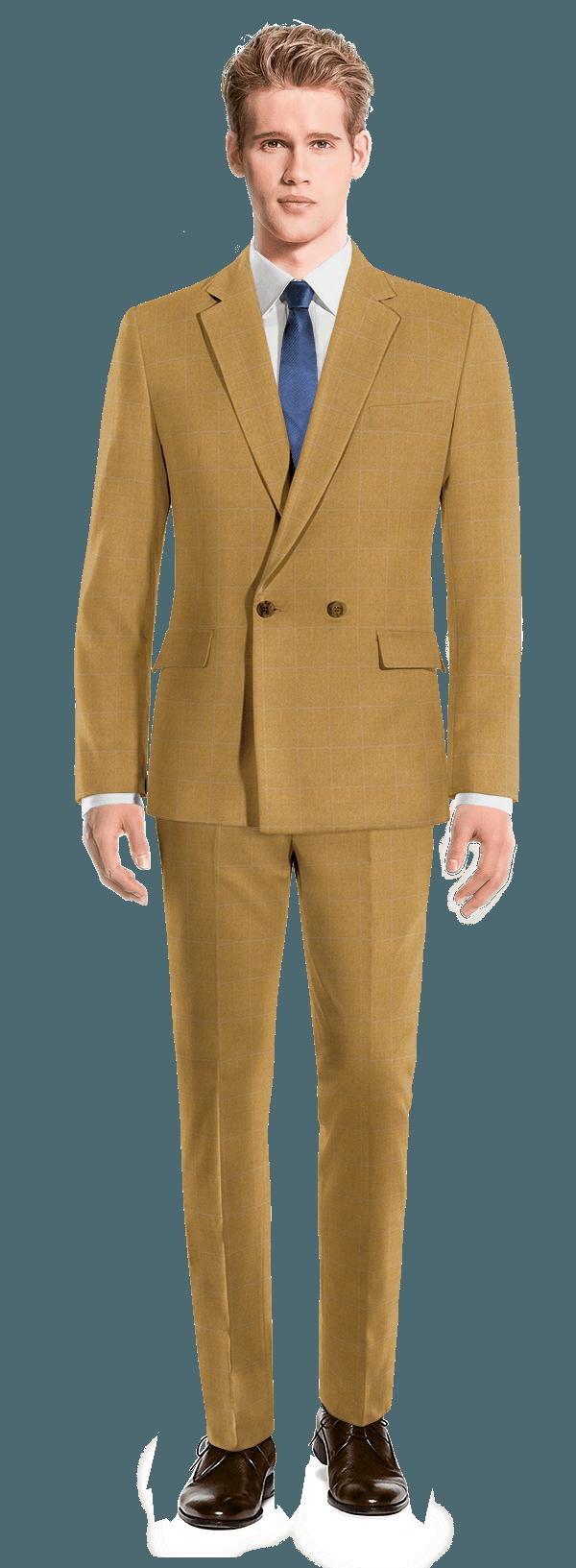Costume marron croisé à carreaux 100% laine