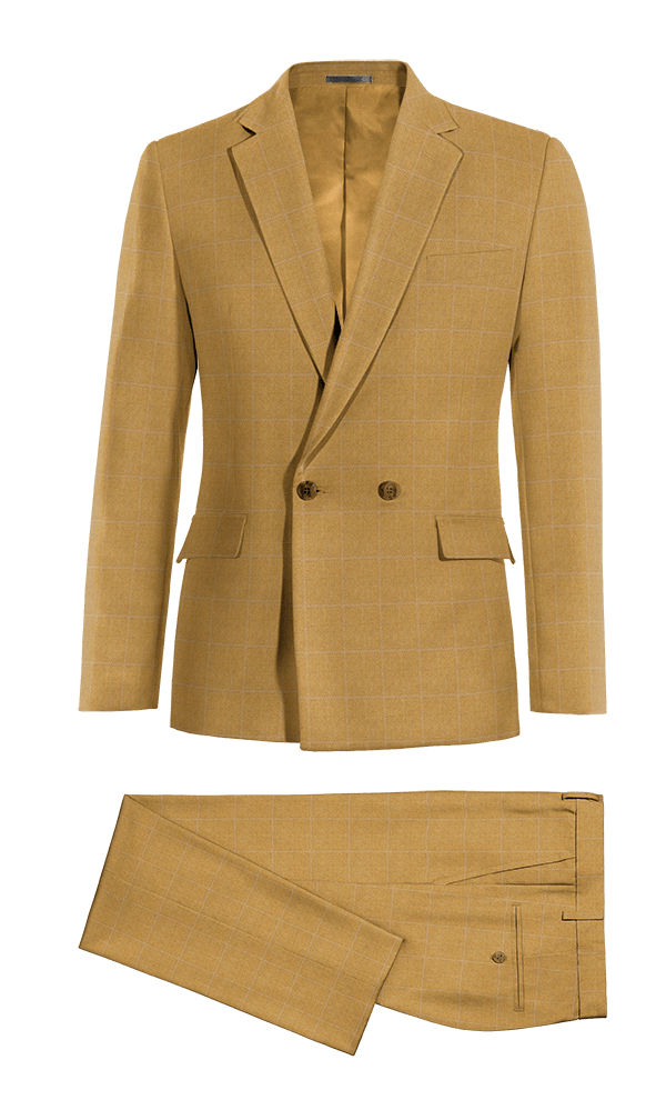 Brown Double breasted checked 100% Wool Suit