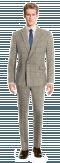 Costume marron croisé à carreaux 100% laine-Vue Avant
