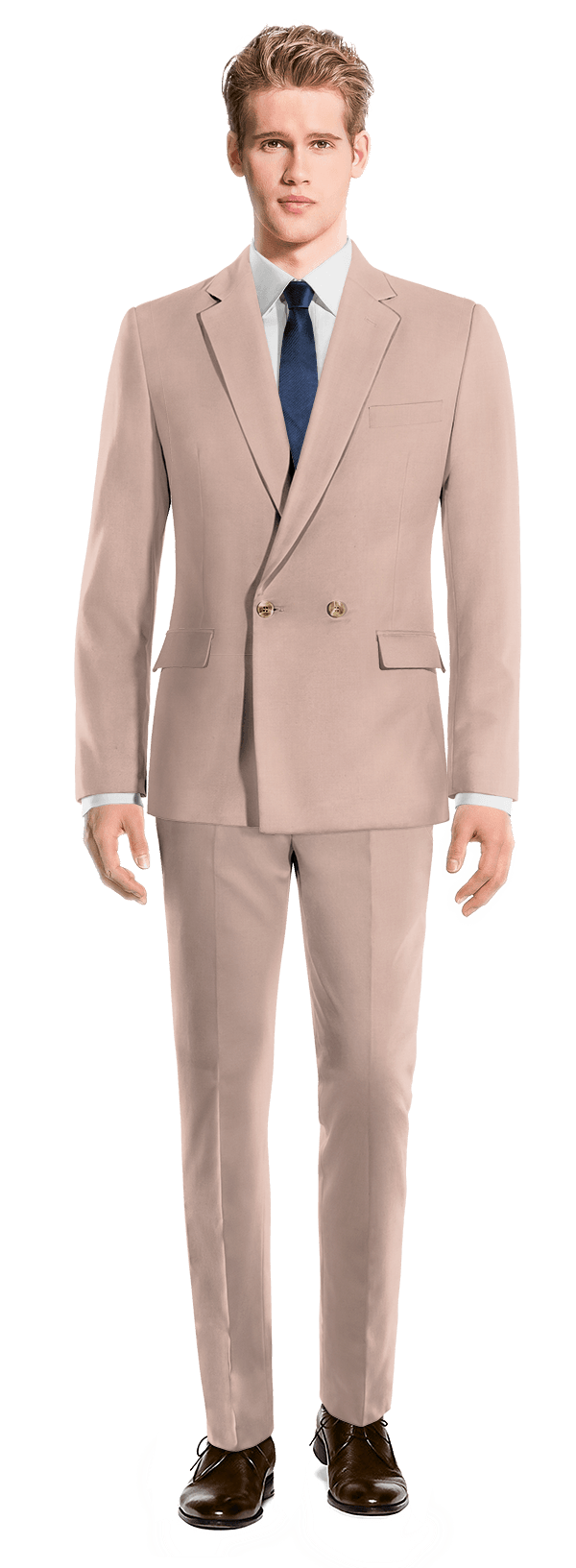 Pink Double breasted wool Suit