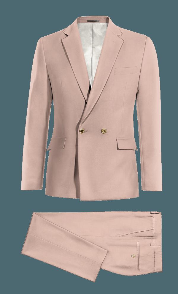 Costume rose croisé en Laine