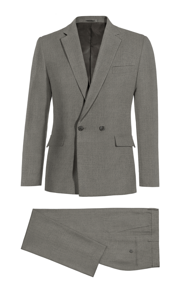 Costume gris croisé en Laine