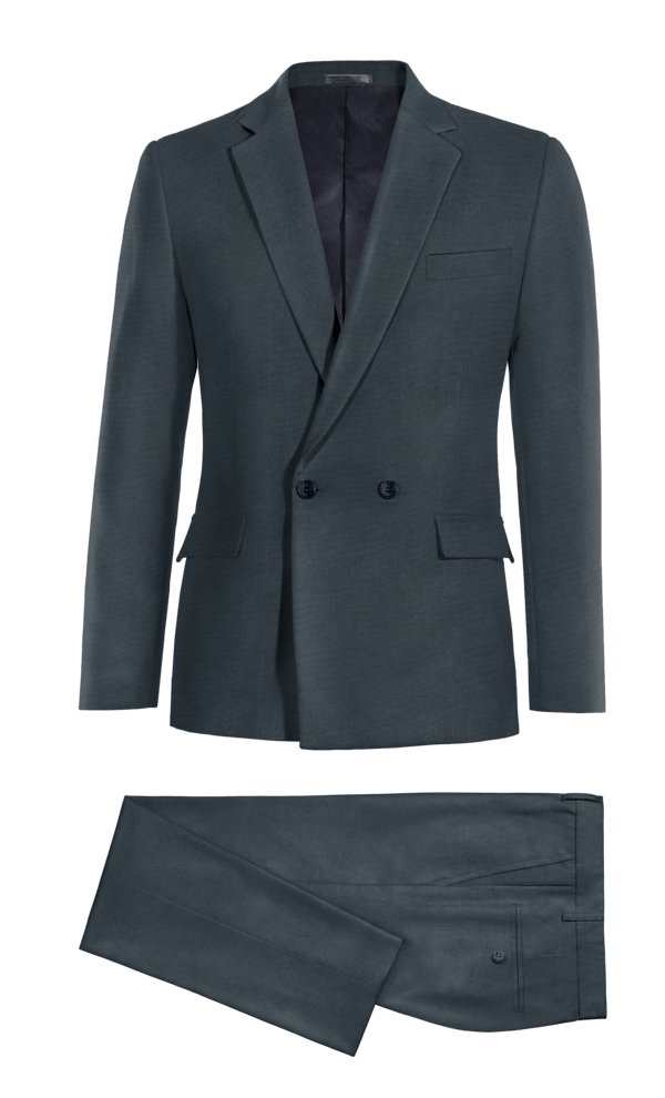 Blue Double breasted cotton Suit