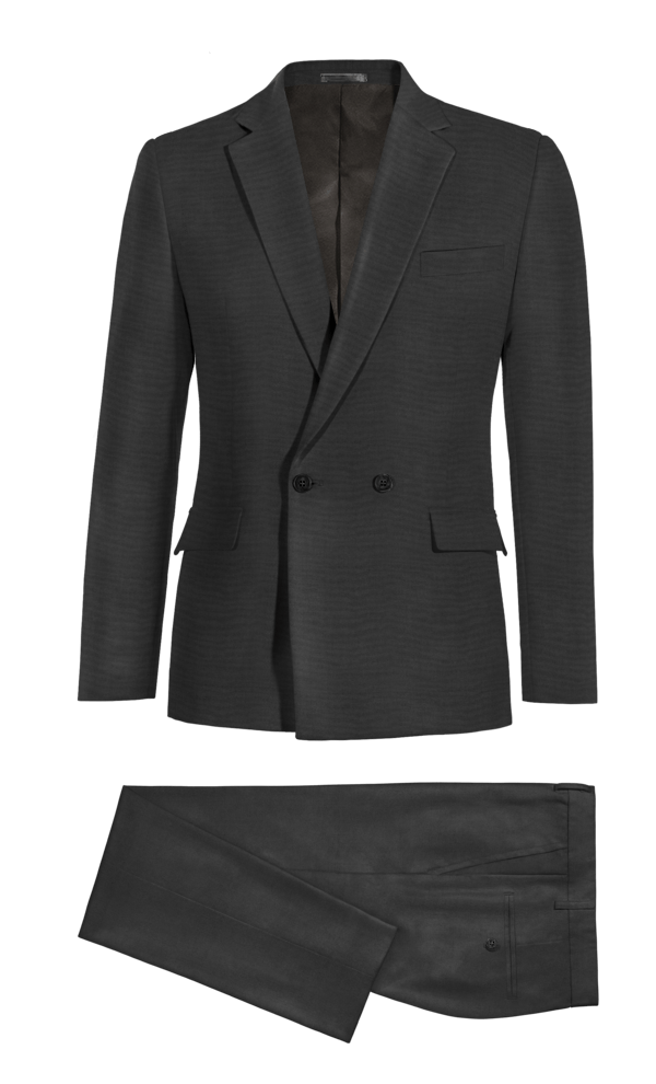 Black Double breasted 100% Wool Suit