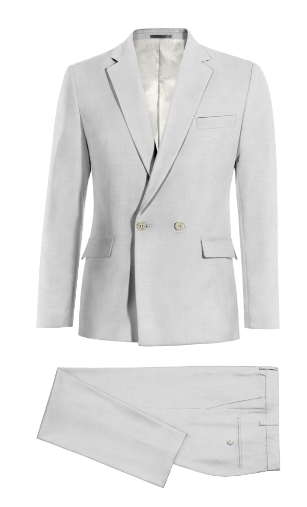 White Double breasted wool Suit