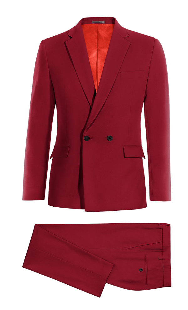 Red Double breasted wool Suit