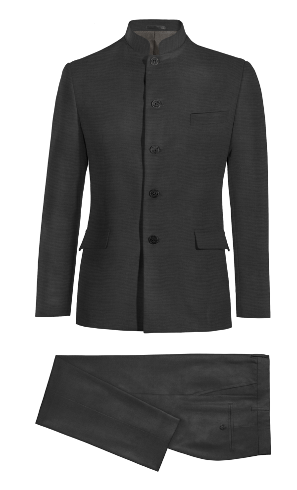 Black Mao 100% Wool Suit