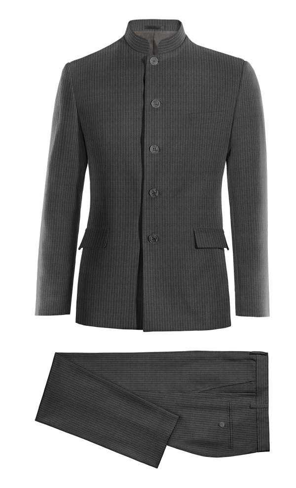 Grey Mao striped 100% Wool Suit