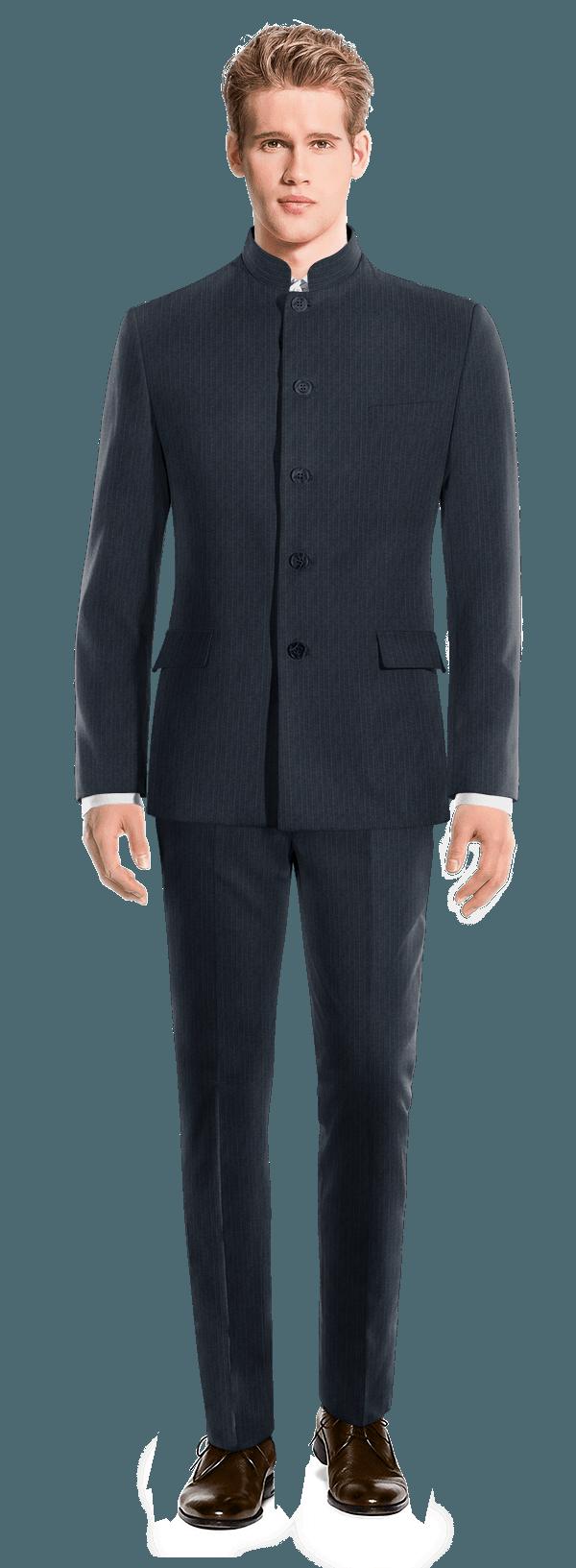 Blue Mao striped Merino wool Suit